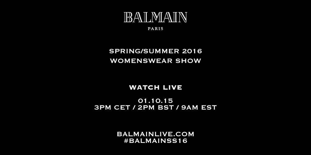 BALMAIN SPRING/SUMMER 2016 WOMENSWEAR SHOW